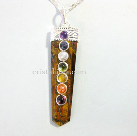Chakra & Tigers Eye Points Pendant 50mm