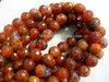FIRE AGATE 8MM FACETED ROUND BEADS