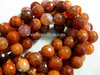 FIRE AGATE 10MM FACETED ROUND BEADS