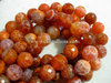 FIRE AGATE 12MM FACETED ROUND BEADS