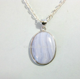Chalcedony Cabochon Silver Pendant 15x20mm