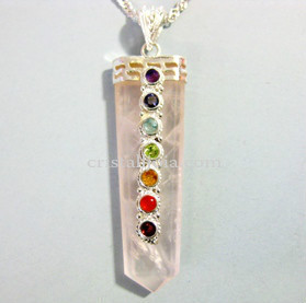 Chakra & Rose Quartz Points Pendant
