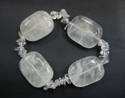 QUARTZ ROCK CRYSTAL - TUMBLED CHIP BRACELET