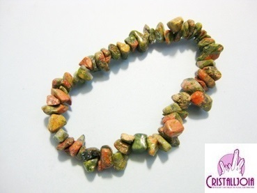 Unakite Gemstone Chip Bracelet