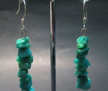 Moss agate chip earring silver hook