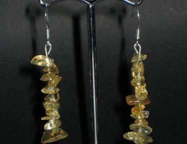 Citrine chip earring silver hook