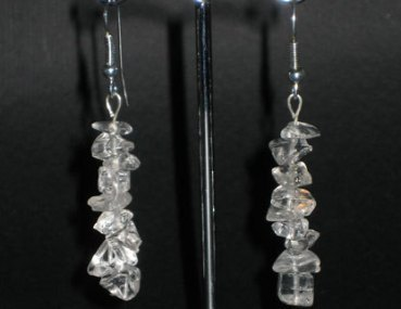 Rock crystal quartz chip earring silver hook