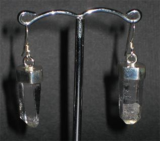 Natural rock crystal point earring silver