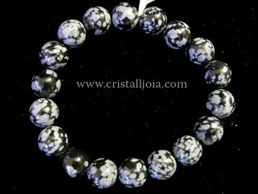 PULSERA BOLA DE OBSIDIANA NEVADA DE 10MM