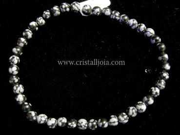 PULSERA BOLA DE OBSIDIANA NEVADA DE 4MM
