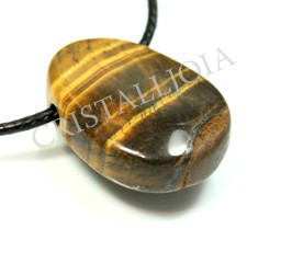 Tiger Eye Pendant Round Oval With Hole