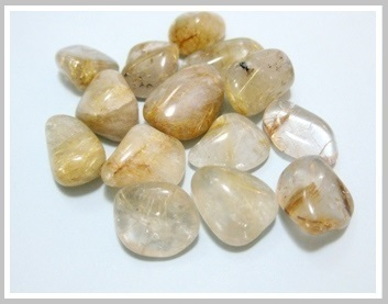 Rutilated Quartz Thumbled Stone Pack 200gr