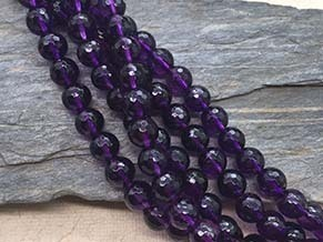 Amethyst 8mm faceted ball beads strands