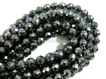 Hematite 8mm faceted ball beads strands
