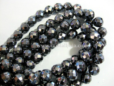 Hematite 10mm faceted ball bead strands