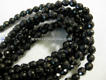 SHUNGITE 6MM FACETED ROUND BEADS
