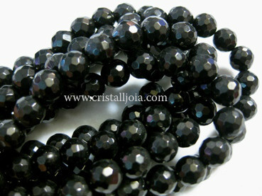 SHUNGITE 8MM FACETED ROUND BEADS