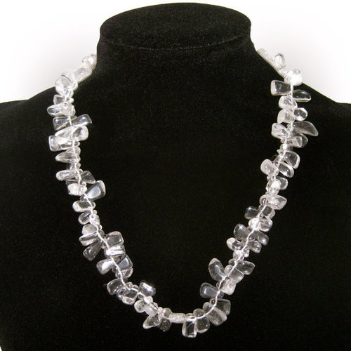 QUARTZ ROCK CRYSTAL - LEAVES NECKLACE