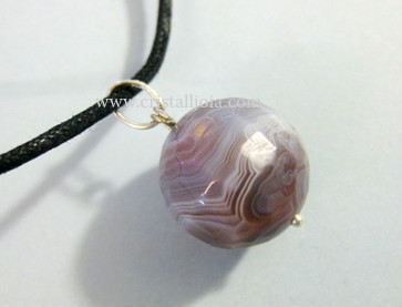 Agata Botswana ,Ball Pendant Faceted 15Mm