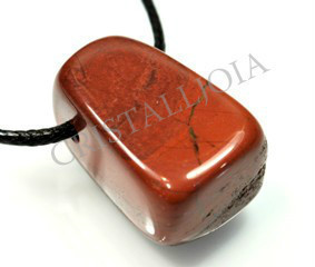 Red jasper Thumbled Stone pendant with Hole