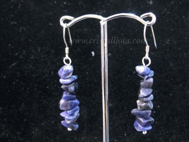 Sodalite chip silver hook earrings