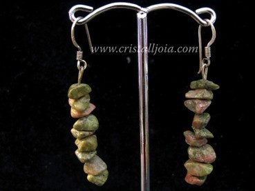 Unakite chip silver hook earring