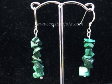 Malachite chip earring silver hook