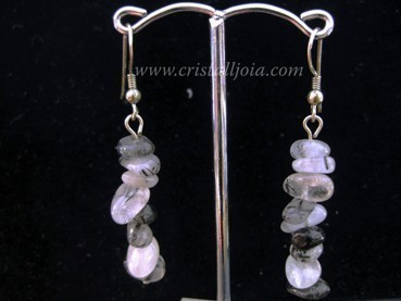 Quartz with tourmaline chip earring silver hook