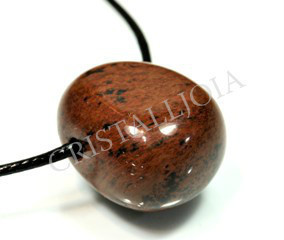 Obsidiana Mahogany Thumbled Stone Pendant with Hole