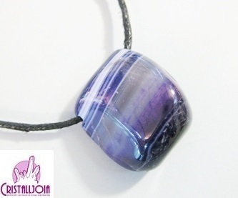 Agate Purple Thumbled Stone Pendant With Hole