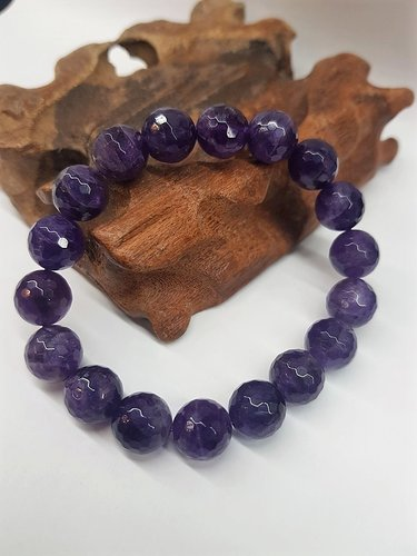 Amethyst Bracelet Faceted Round Beads 10mm