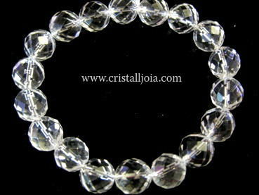 QUARTZ ROCK CRYSTAL - FACETED BALLS BRACELET 10MM