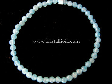 Angelite 4mm Round Bead Bracelet