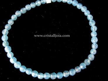Angelite 4mm Round Bead Faceted Bracelet
