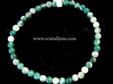 Green Banded Agate Bracelet Round Beads 4mm
