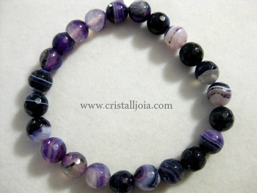 Purple Agate 8Mm Round Bead Faceted Bracelet