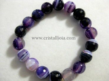 Purple Agate 10Mm Round Bead Faceted Bracelet
