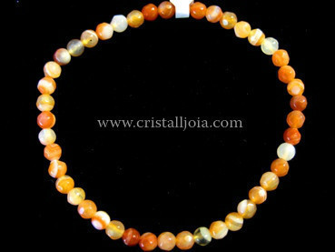 Red Agate 4mm Round Bead faceted Bracelet