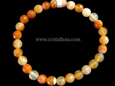 Red Agate 6mm Round Bead Faceted Bracelet