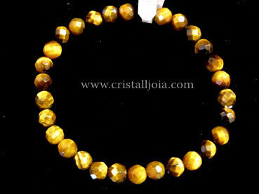 Tiger Eye 6mm Round Bead Faceted Bracelet