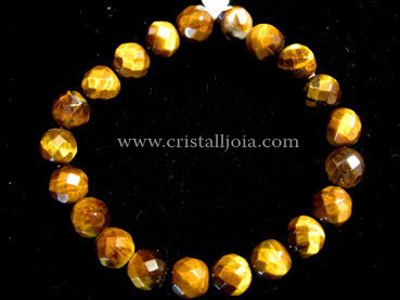 Tiger Eye 8mm Round Bead Faceted Bracelet