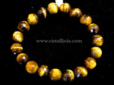 Tiger Eye 10mm Round Bead Faceted Bracelet