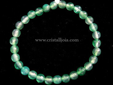 Green Agate Bracelet Round Beads Faceted 6mm