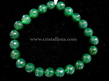 Green Agate Bracelet Round Beads Faceted 8mm