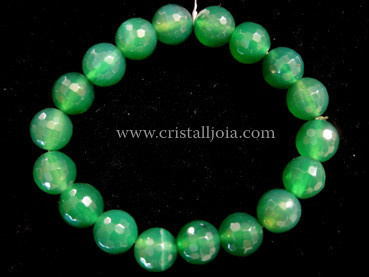 Green Agate Bracelet Round Beads Faceted 10mm
