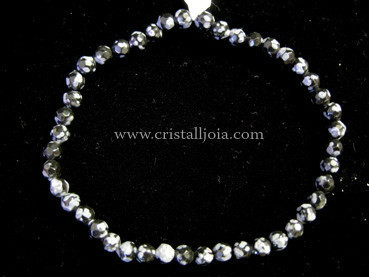 Snowflakes Obsidian Bracelet Round Faceted Beads 4mm