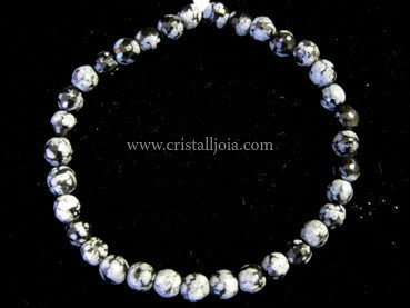 Snowflakes Obsidian Bracelet Round Faceted Beads 6mm
