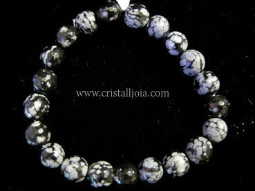 Snowflakes Obsidian Bracelet Round faceted Beads 8mm