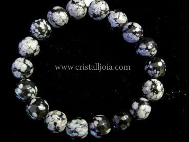 Snowflakes Obsidian Bracelet Round Faceted Beads 10mm