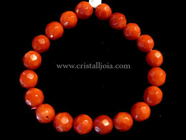 Bamboo Coral Bracelet Round Faceted Beads 10mm